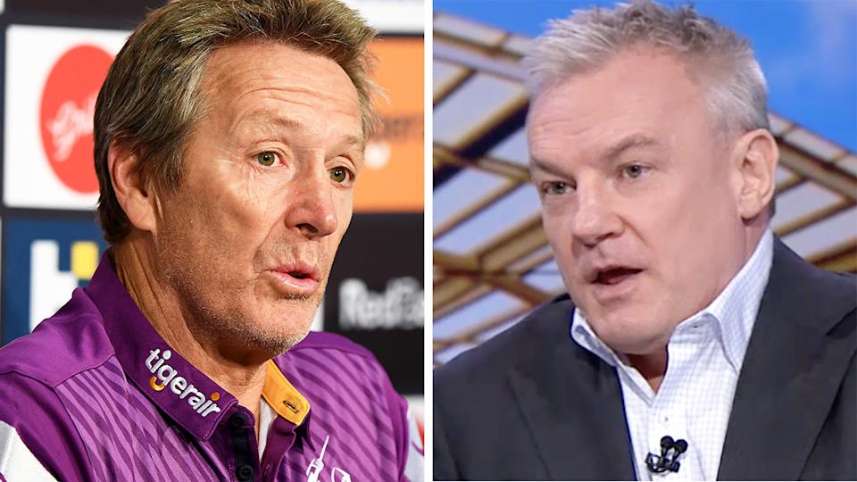 Craig Bellamy was at the centre of an extraordinary broadside launched by NRL reporter Paul Kent over his handling of a high shot from Storm star Felise Kaufusi. Pictures: Getty Images/Fox League