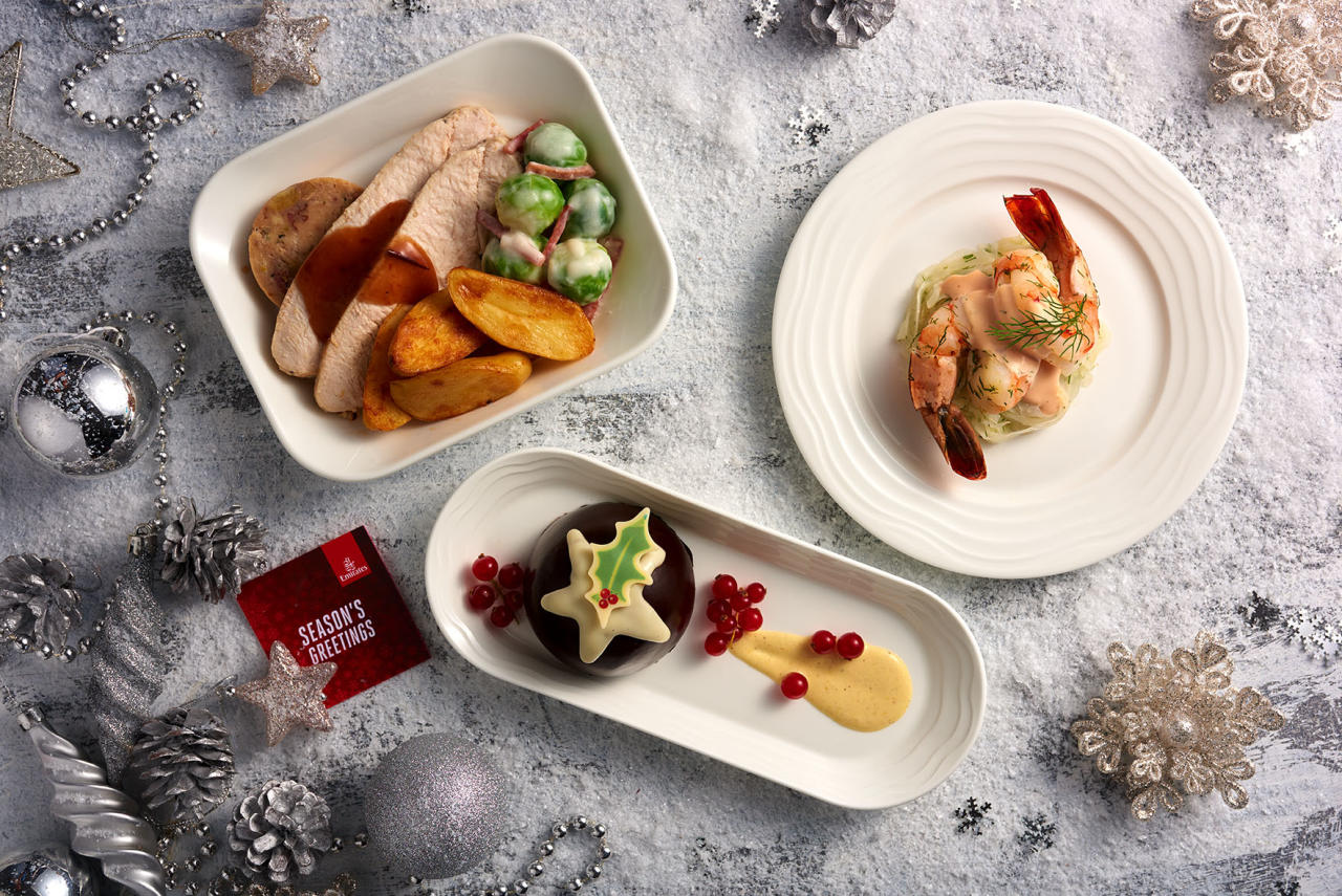 <p>First and Business Class passengers get roast turkey breast and apricot stuffing, roast potatoes, and creamy Brussels sprouts with turkey bacon and cranberry jus. Picture: Emirates </p>
