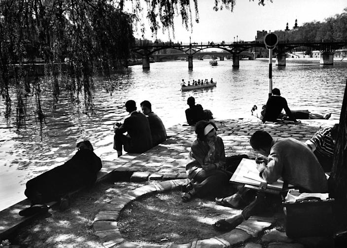 Parisians on the banks of the Seine.