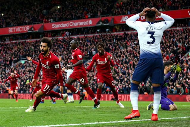 "<a class=""link rapid-noclick-resp"" href=""/soccer/teams/liverpool/"" data-ylk=""slk:Liverpool"">Liverpool</a>'s Mohamed Salah (31) celebrates after his header led to an own goal that cost Danny Rose (3) and <a class=""link rapid-noclick-resp"" href=""/soccer/teams/tottenham-hotspur/"" data-ylk=""slk:Tottenham Hotspur"">Tottenham Hotspur</a> a result at Anfield. (Getty)"