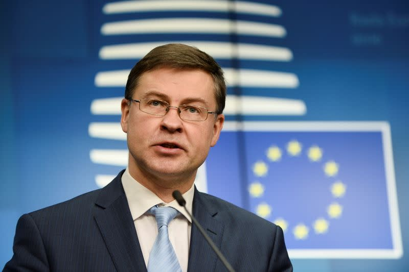 FILE PHOTO: News conference following a EU finance ministers meeting in Brussels