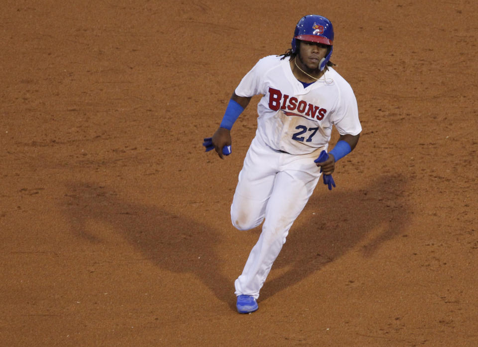 Vladimir Guerrero Jr. appears to be a can't-miss prospect. (AP)