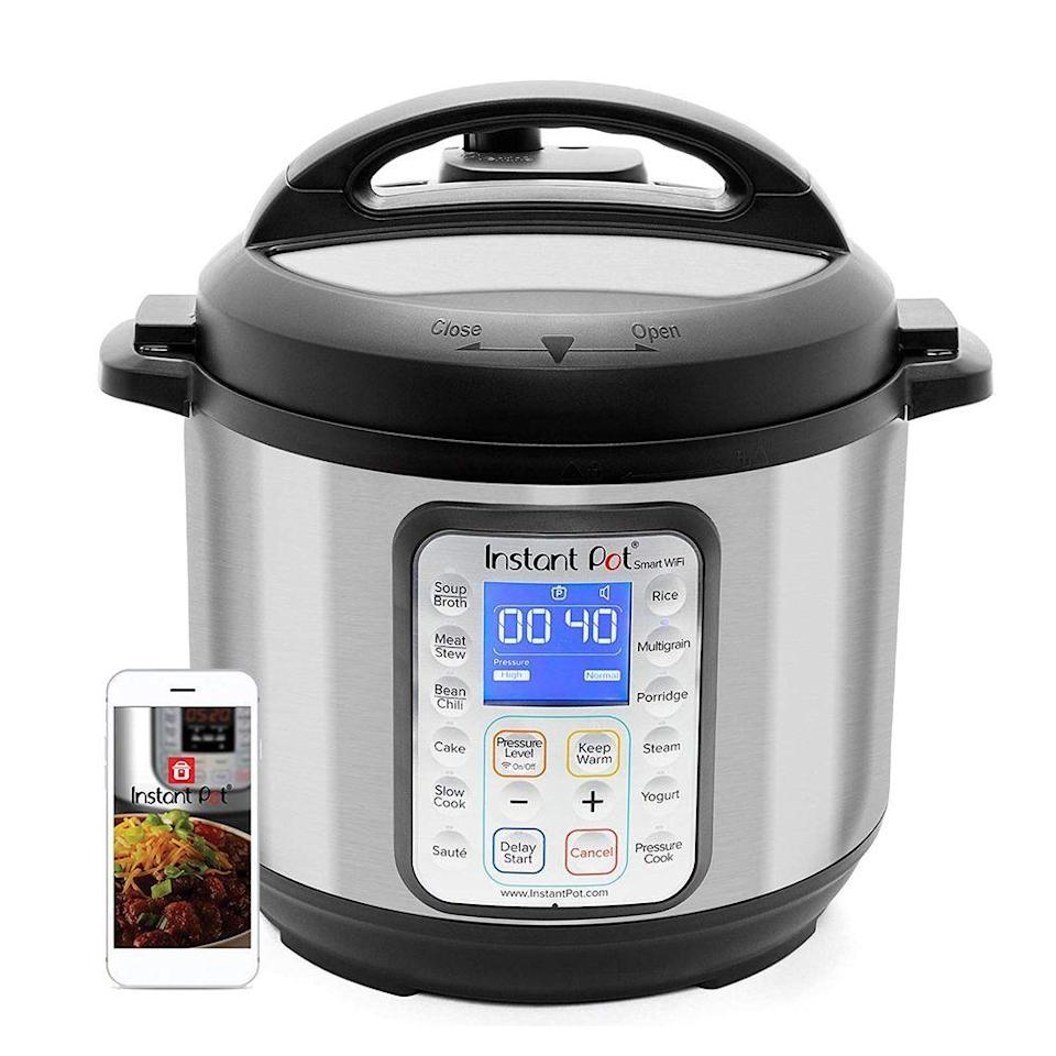 "<p><strong>Instant Pot</strong></p><p>amazon.com</p><p><a href=""https://www.amazon.com/dp/B0777XQ4S8?tag=syn-yahoo-20&ascsubtag=%5Bartid%7C2089.g.293%5Bsrc%7Cyahoo-us"" rel=""nofollow noopener"" target=""_blank"" data-ylk=""slk:Shop Now"" class=""link rapid-noclick-resp"">Shop Now</a></p><p>This Instant Pot combines eight different kitchen appliances into one. It's also compatible with Alexa, so you can control it from your smartphone and also get access to hundreds of different recipes through the Instant Pot app. </p>"