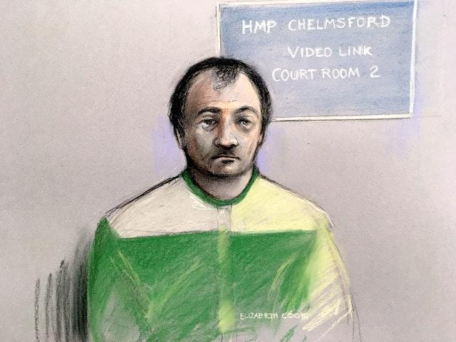 Court artist sketch by Elizabeth Cook of Terence Glover appearing at Chelmsford Crown Court via video link