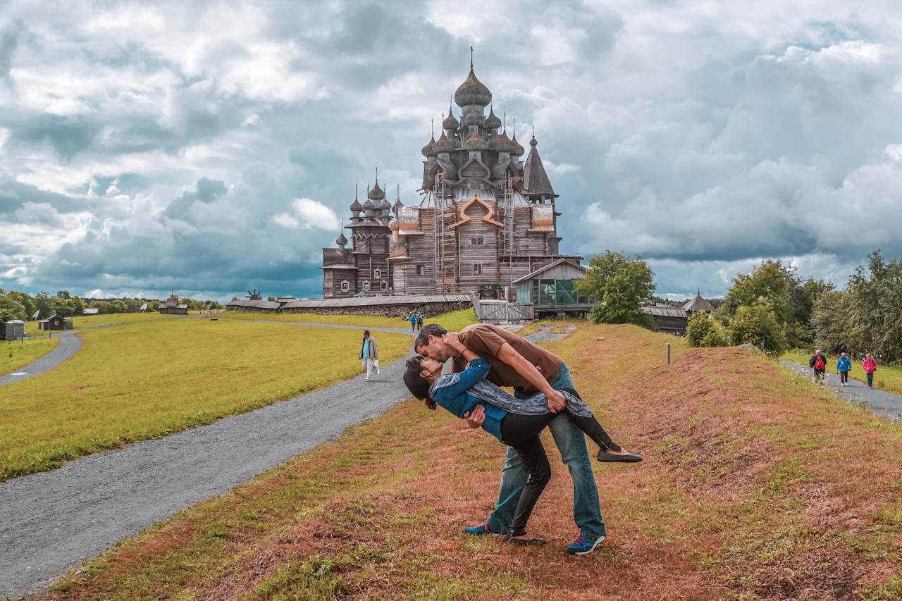 <p>The Switzers in Kizhi, Russia. (Caters News) </p>