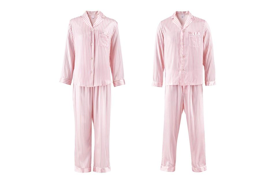 The Beverly Hills Hotel pink and white stripped pajama sets