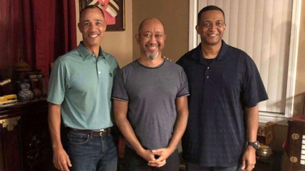 PHOTO: Maj. Robert Edmonson II (L) meets with brothers Brian Jackson ( c) and Col. Eric Jackson (right) this weekend for the first time. (Courtesy Edmonson and Jackson families)