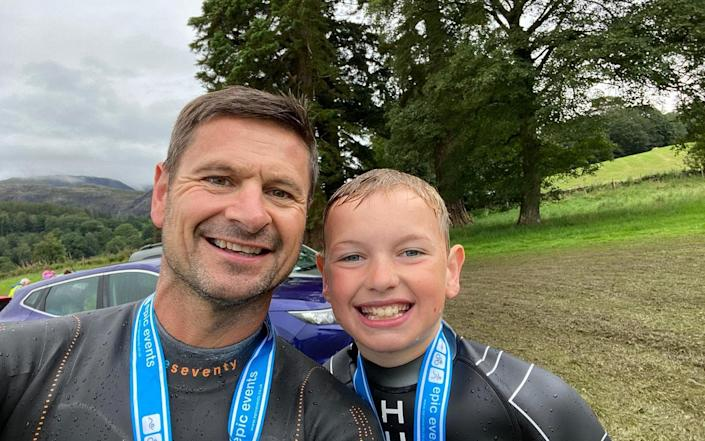 Adam Diver and his 11-year-old son are keen swimmers in Fleetwood