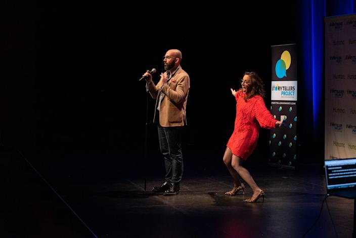 "Vince Malouf and Megan Finnerty tell their tale during ""Arizona Storytellers: Romance or Not"" at the Scottsdale Center for Performing Arts on Wednesday, Feb. 13, 2019."
