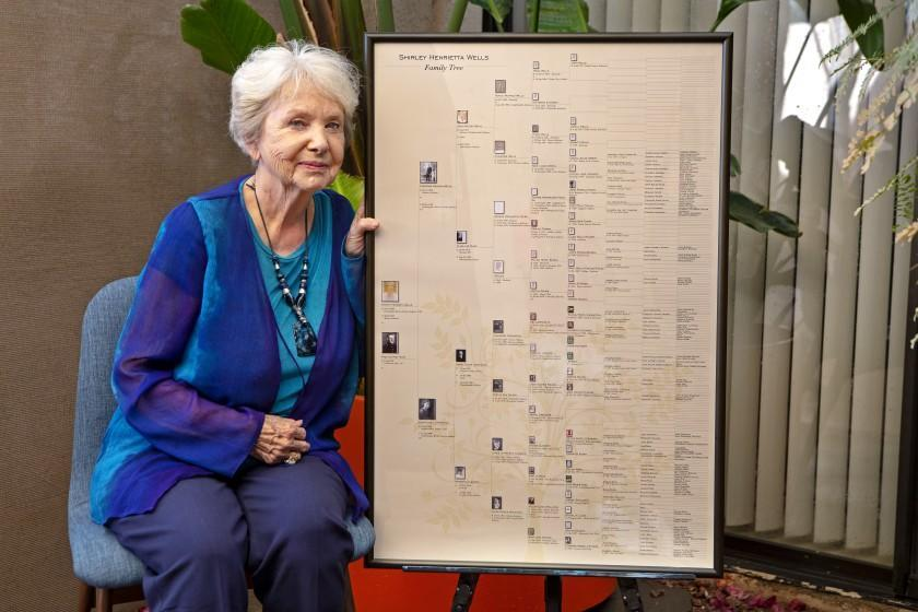 Shirley Ruge has been working on her family tree for decades. She's now concerned that all this genetic data could be exploited for profit. For David Lazarus column, Apr. 2021. (Dave Folks)
