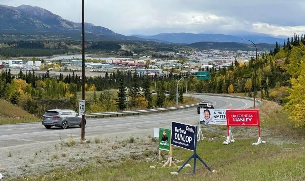 Election signs for Yukon's federal candidates. Yukoners, along with Canadians across the country, will head to the polls on Sept. 20. (Wayne Vallevand/CBC - image credit)