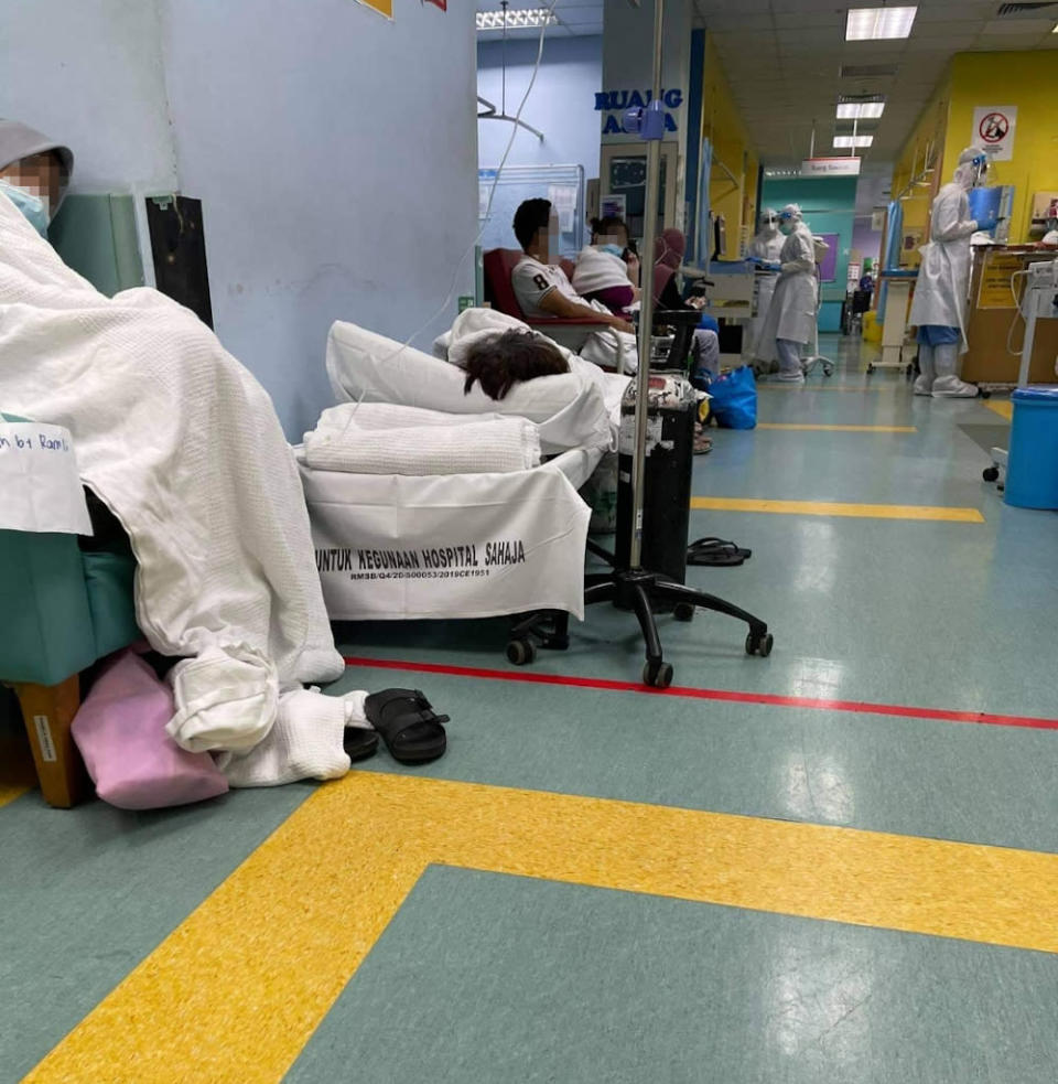 Even hallways are being used to place patients as hospitals are operating beyond capacity.
