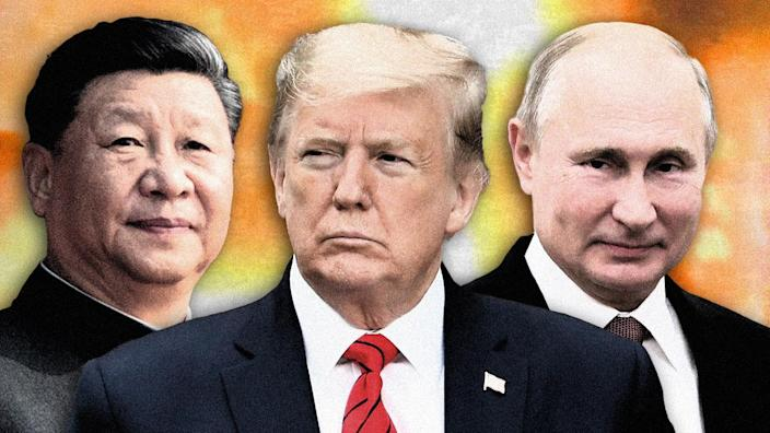 Xi Jinping, Donald Trump and Vladimir Putin. (Photo illustration: Yahoo News; photos: AP (3), Russian Defense Ministry Press Service via AP)