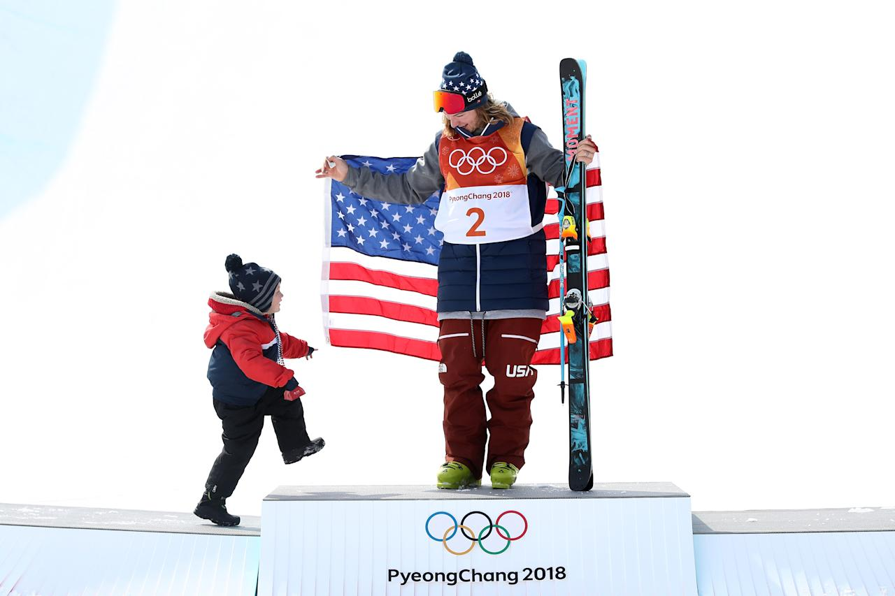 <p>David Wise of the United States celebrates with his family after winning gold in the Freestyle Skiing Men's Ski Halfpipe Final on day thirteen of the PyeongChang 2018 Winter Olympic Games at Phoenix Snow Park on February 22, 2018 in Pyeongchang-gun, South Korea. (Photo by Cameron Spencer/Getty Images) </p>