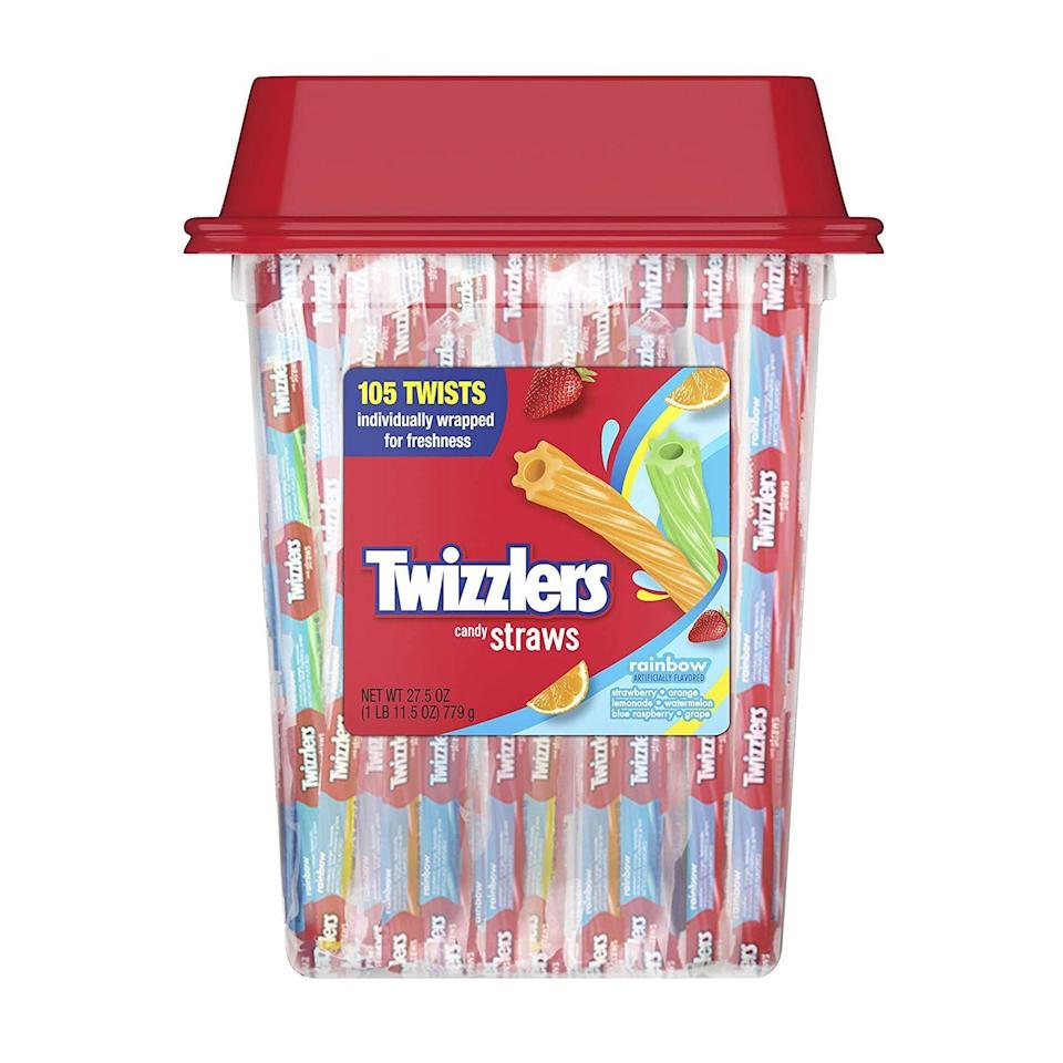 """<p><strong>Twizzlers</strong></p><p>amazon.com</p><p><strong>$5.98</strong></p><p><a href=""""https://www.amazon.com/dp/B072B91S96?tag=syn-yahoo-20&ascsubtag=%5Bartid%7C2141.g.34414052%5Bsrc%7Cyahoo-us"""" rel=""""nofollow noopener"""" target=""""_blank"""" data-ylk=""""slk:Shop Now"""" class=""""link rapid-noclick-resp"""">Shop Now</a></p><p>Every variety of Twizzlers is vegan, but we're partial to this multipack featuring a variety of fruit-flavored straws.</p>"""