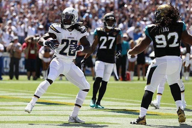 Melvin Gordon highlights this week's look at recent risers and fallers in fantasy football (Getty Images)