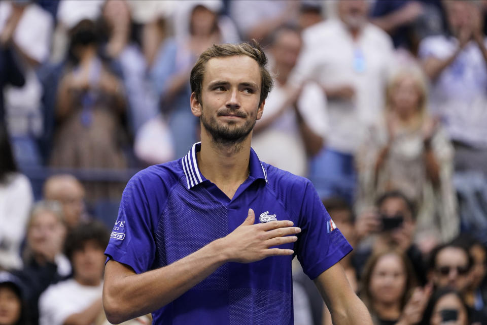 Daniil Medvedev, of Russia, reacts after defeating Felix Auger-Aliassime, of Canada, during the semifinals of the US Open tennis championships, Friday, Sept. 10, 2021, in New York. (AP Photo/John Minchillo)