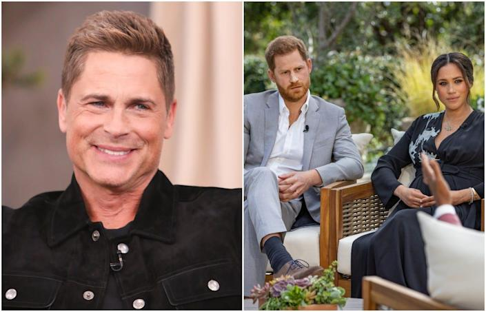 Rob Lowe at Universal Studios/ Meghan Markle and Prince Harry during a CBS sit-down interview with Oprah Winfrey.