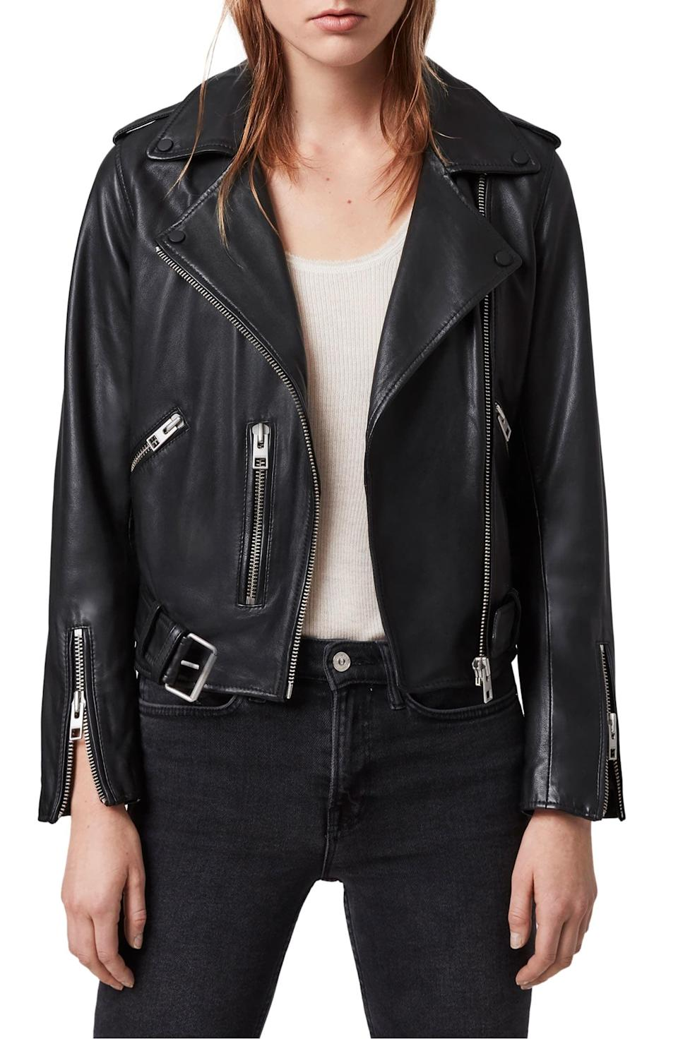 <p>This <span>ALLSAINTS Balfern Leather Biker Jacket </span> ($374, originally $498) is one of the best options out there - it's a great investment.</p>