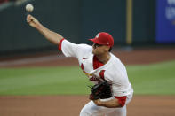 St. Louis Cardinals starting pitcher Jack Flaherty throws during the second inning of a baseball game against the Pittsburgh Pirates Friday, July 24, 2020, in St. Louis. (AP Photo/Jeff Roberson)