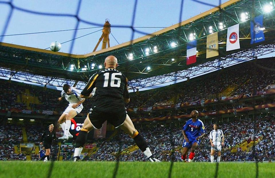Angelos Charisteas scores the goal that knocked out the defending champions, France