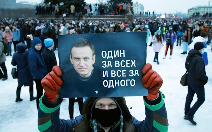 Russians rallied in freezing temperatures on Saturday, demanding the release of Alexei Navalny - Dmitry Lovetsky/AP