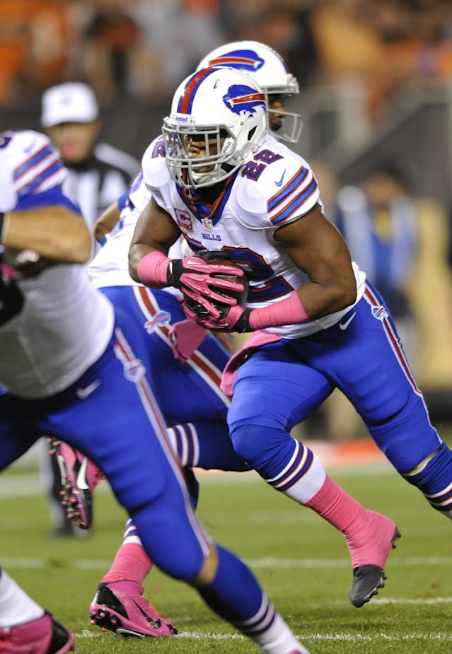 Buffalo Bills running back Fred Jackson (22) runs 1 yard for a touchdown against the Cleveland Browns in the first quarter of an NFL football game Thursday, Oct. 3, 2013, in Cleveland. (AP Photo/David Richard)