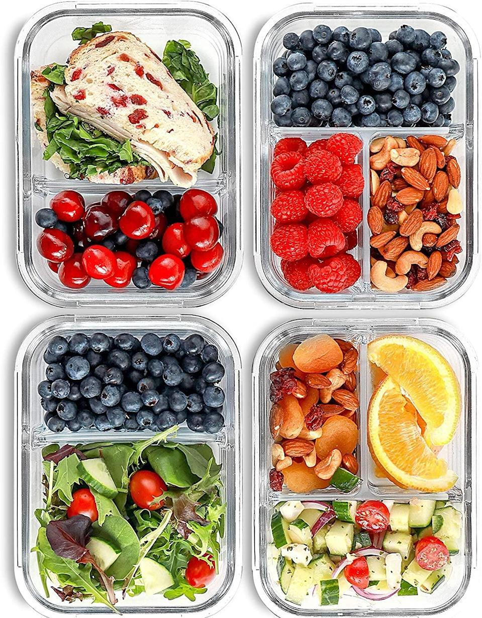 """<p>These compartmentalized containers make putting complete meals together a breeze. Plus, they are microwaveable, have lids that seal tightly, and are also dishwasher- and freezer-safe.</p> <p><a href=""""https://www.popsugar.com/buy/2-3-Compartment-Glass-Meal-Containers-579724?p_name=2%20and%203-Compartment%20Glass%20Meal%20Containers&retailer=amazon.com&pid=579724&price=25&evar1=fit%3Auk&evar9=44742696&evar98=https%3A%2F%2Fwww.popsugar.com%2Ffitness%2Fphoto-gallery%2F44742696%2Fimage%2F44742699%2FContainers-Snacks-Complete-Meals&list1=holiday%2Cgift%20guide%2Chealthy%20living%2Cfitness%20gifts%2Chealthy%20cooking%20tips%2Chealthy%20eating%20tips%2Cmeal%20prep&prop13=api&pdata=1"""" class=""""link rapid-noclick-resp"""" rel=""""nofollow noopener"""" target=""""_blank"""" data-ylk=""""slk:2 and 3-Compartment Glass Meal Containers"""">2 and 3-Compartment Glass Meal Containers</a> ($25 for a set of four)</p>"""