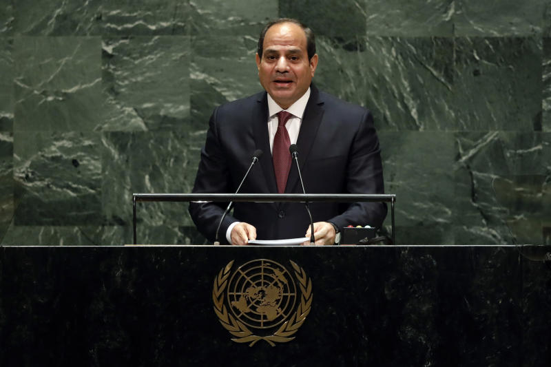 """FILE - In this Sept. 24, 2019 file photo, Egypt's President Abdel Fattah el-Sisi addresses the 74th session of the United Nations General Assembly.  Egypt's president has called for """"decisive"""" and """"collective"""" action against countries supporting terrorism."""" His comments are an apparent reference to Turkey and Qatar, who back the Muslim Brotherhood group, which is outlawed by the Egyptian government. Addressing a two-day forum on peace in Africa in the southern city of Aswan, Abdel-Fattah el-Sissi says achieving sustainable development in Africa is needed, along with efforts to fight militant groups.(AP Photo/Richard Drew, File)"""