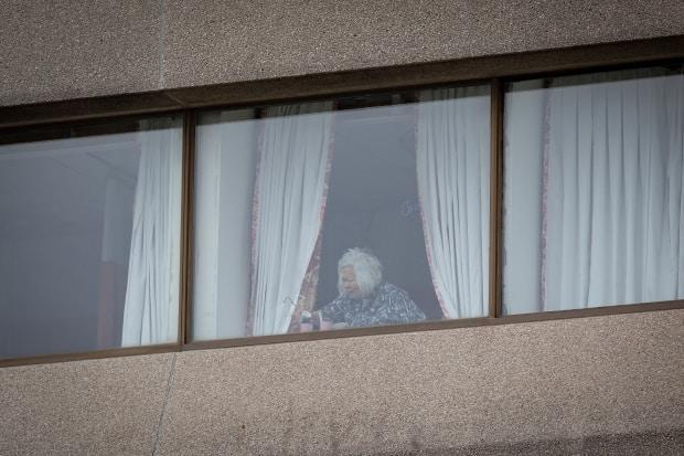 An elderly resident of Tendercare Living Centre, in Scarborough, Ont., is pictured on Dec. 23, 2020. The long term care home had experienced a major staff and resident outbreak of COVID-19.