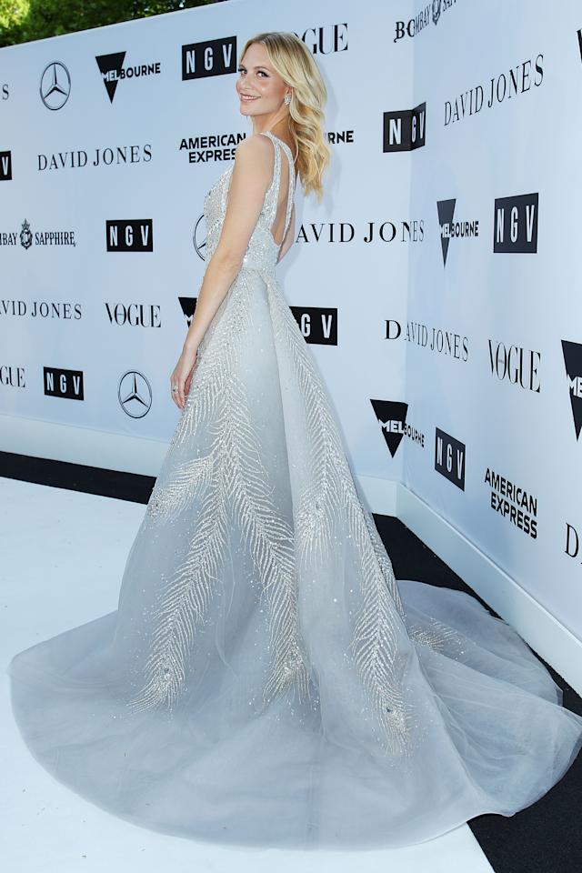 <p>The stunning star wowed in thr plunging gown which featured silver embellishments. Photo: Getty </p>