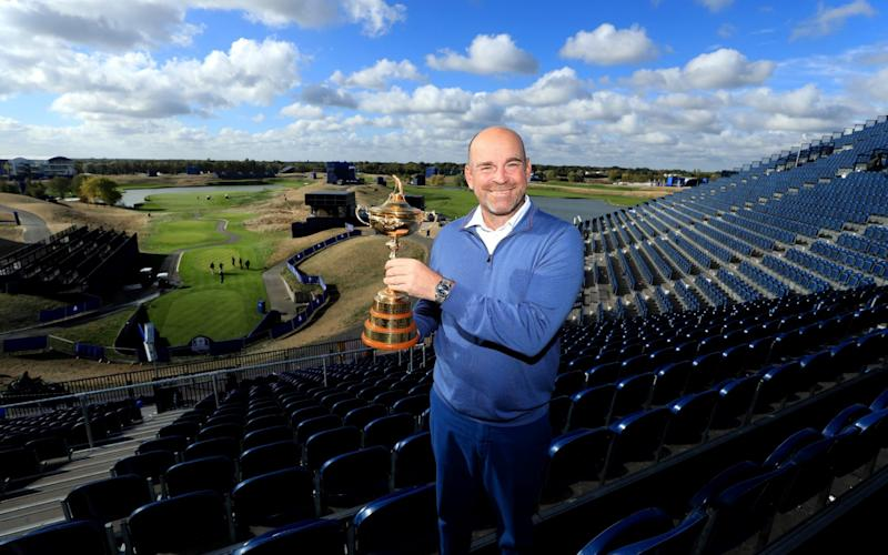 Captain Thomas Bjorn of Europe pose for a photo with The Ryder Cup - Getty Images