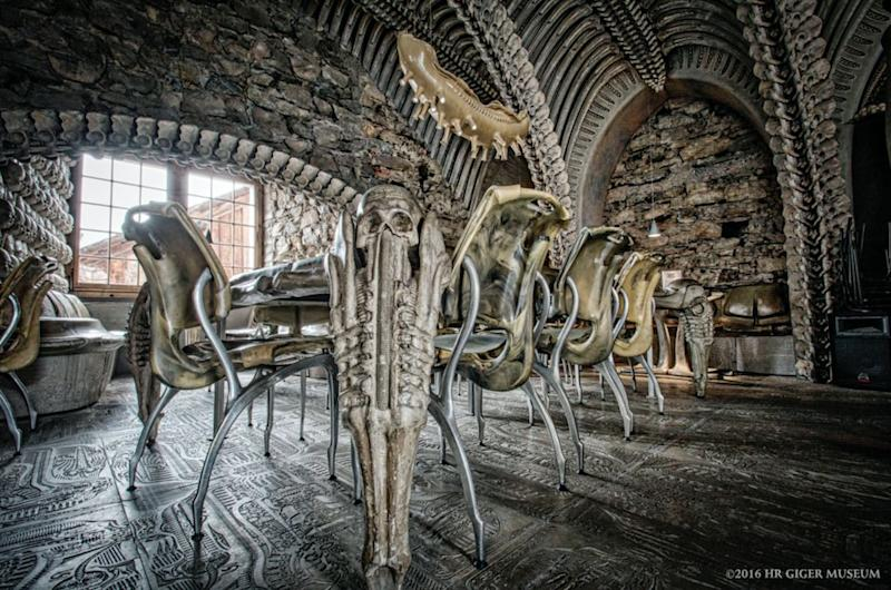 This alien-themed HR Giger Bar, found in Château St. Germain in Gruyères, Switzerland, is a masterpiece worthy of breaking quarantine for.