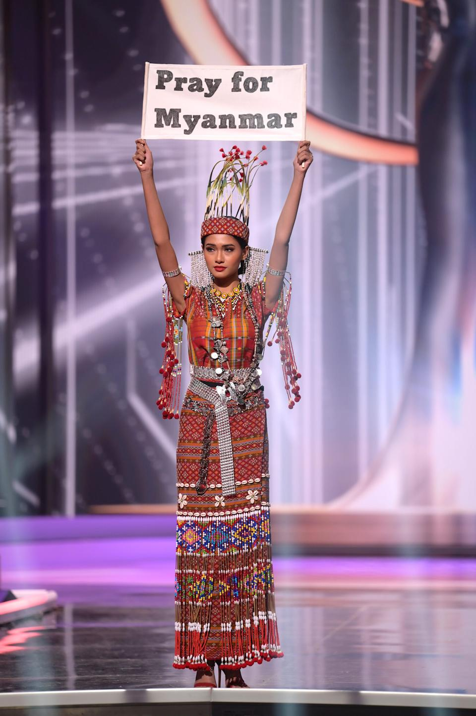 Thuzar Wint Lwin, Miss Universe Myanmar 2020, on stage during the National Costume Show at the Seminole Hard Rock Hotel & Casino in Hollywood, Florida, on May 13, 2021.