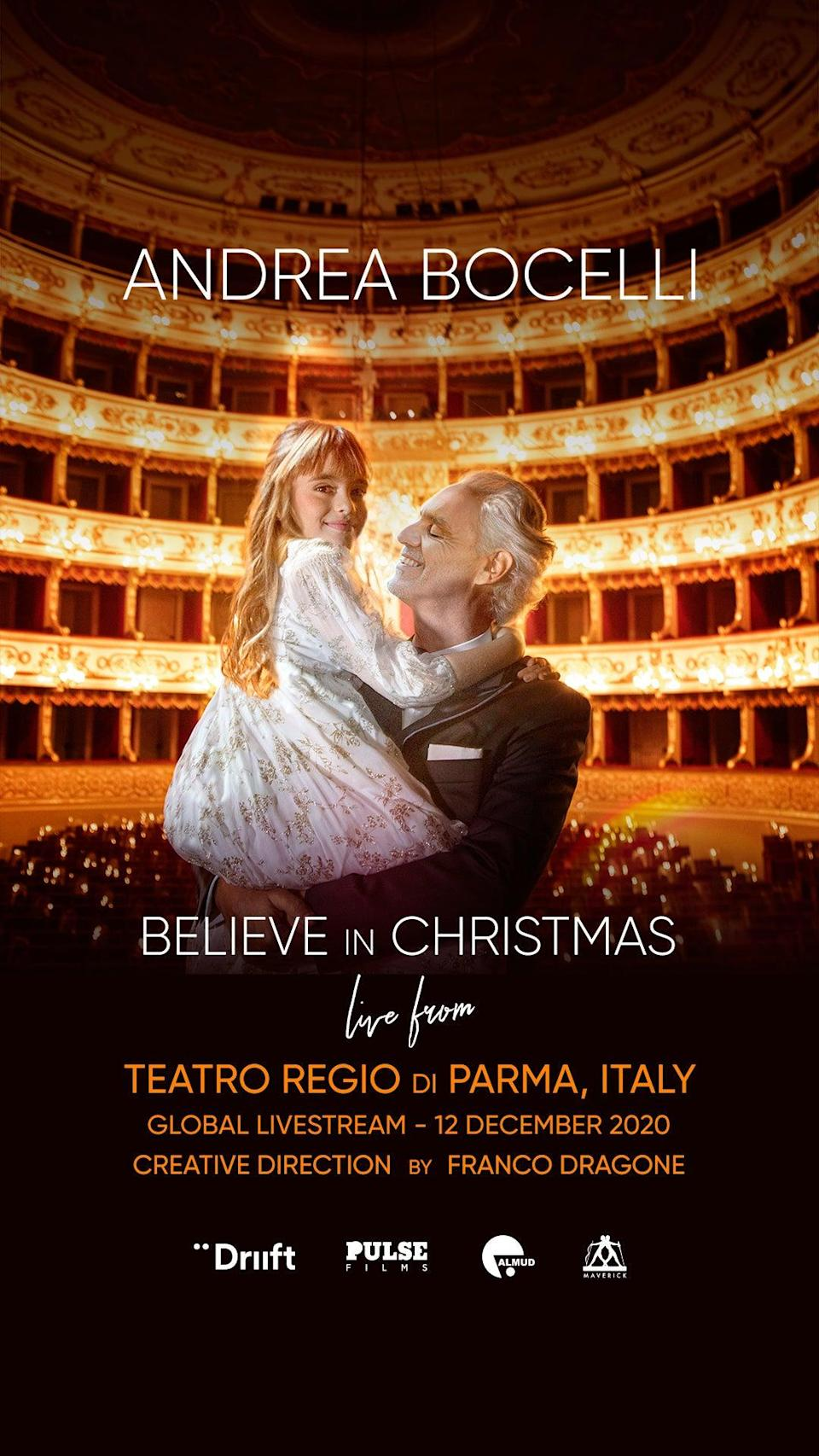 <p>Andrea Bocelli performing at the Teatro Regio opera house will be Driift's first international production </p>Driift