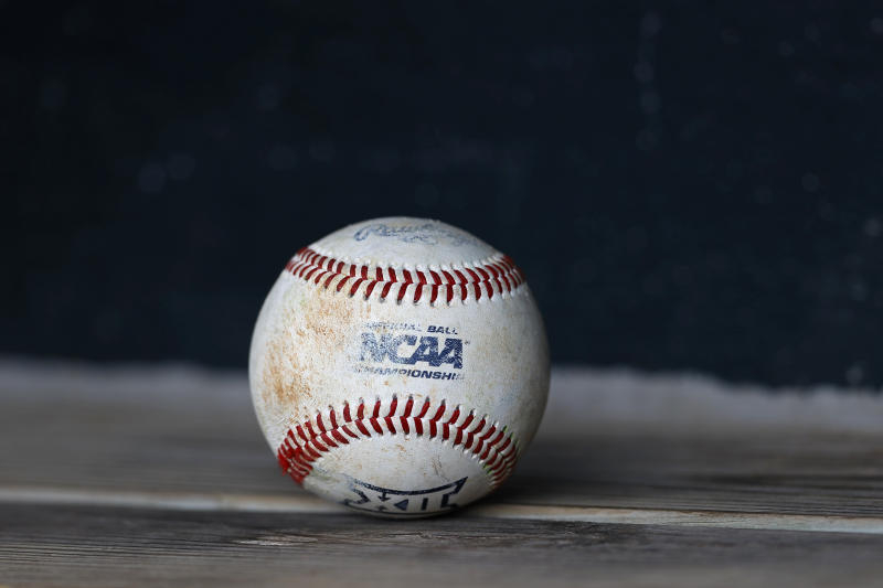 A detail view of an NCAA baseball is seen prior to an University of Texas at Rice University NCAA college baseball game, Sunday, Feb. 16, 2020, in Houston. (AP Photo/Aaron M. Sprecher)
