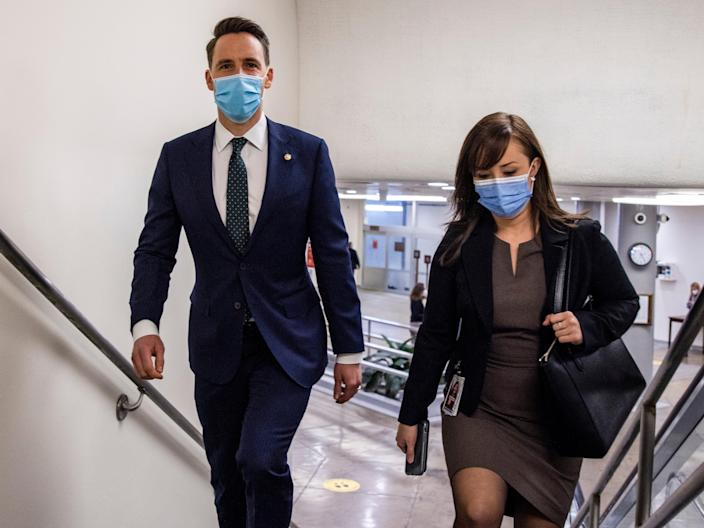 Senator Josh Hawley heads to the Senate floor at the US Capitol on January 26, 2021 in Washington, DC. (Getty Images)