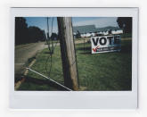 A banner urging citizens to vote is displayed on the side of a street in Jackson Miss., Sunday, Oct. 4, 2020. (AP Photo/Wong Maye-E)