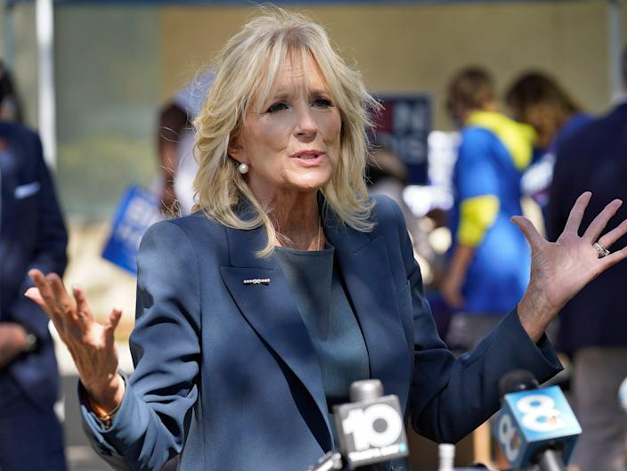 <p>Jill Biden said that she wants to 'build a world where the accomplishments of our daughters are celebrated, rather than diminished'</p> ((Associated Press))