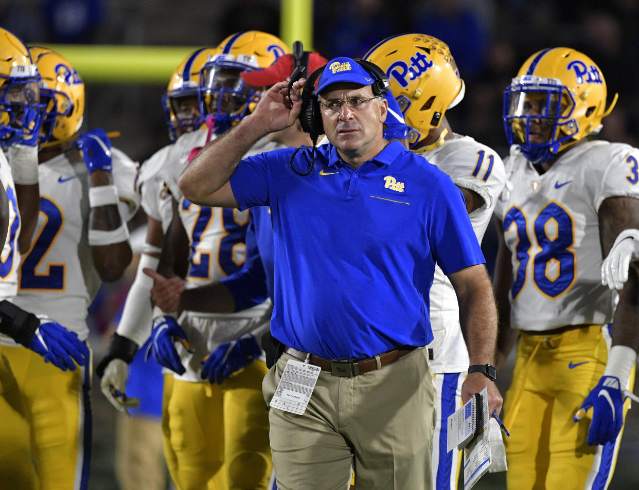 DURHAM, NORTH CAROLINA - OCTOBER 05: Head coach Pat Narduzzi of the Pittsburgh Panthers  during their game against the Duke Blue Devils at Wallace Wade Stadium on October 05, 2019 in Durham, North Carolina. Pittsburgh won 33-30. (Photo by Grant Halverson/Getty Images)