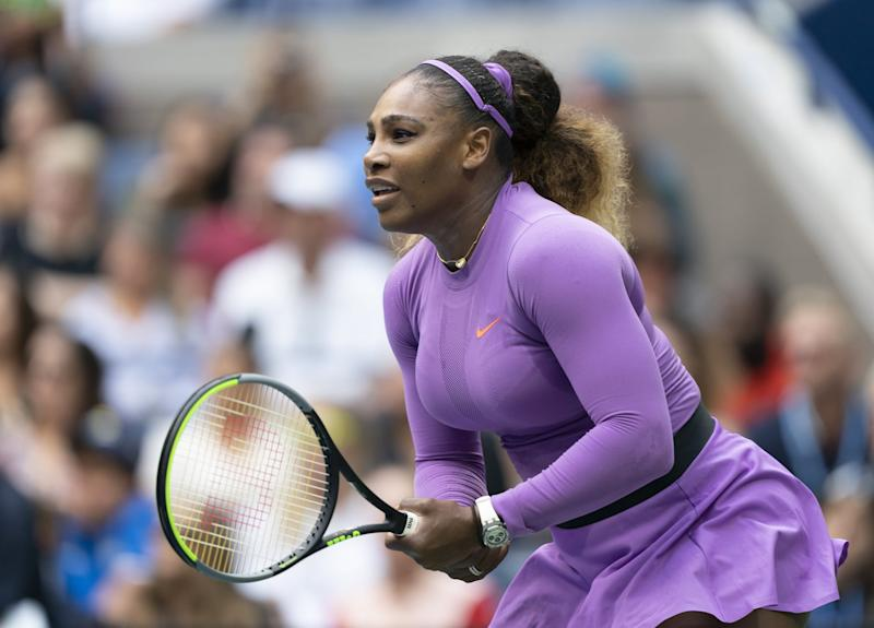 NEW YORK, USA - SEPTEMBER 7: Serena Williams of USA in action against Bianca Andreescu (not seen) of Canada during US Open Championships women's singles final match at Billie Jean King National Tennis Center in New York, United States on September 7, 2019. (Photo by Lev Radin/Anadolu Agency via Getty Images)