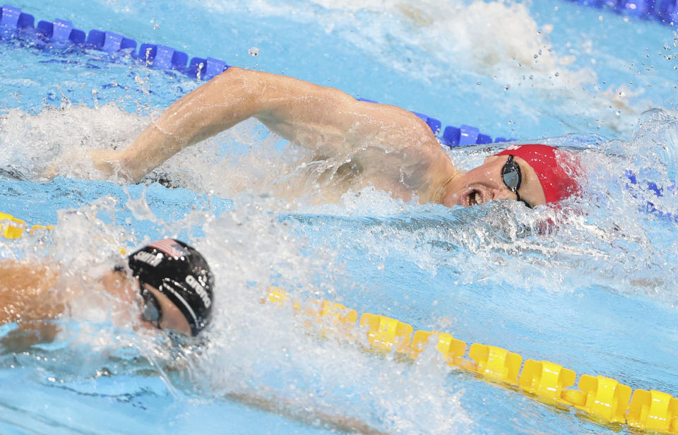 TOKYO, JAPAN - JULY 27: Tom Dean of Great Britain during the 200m freestyle final of the swimming competition of the Tokyo 2020 Olympic Games at Tokyo Aquatics Centre on July 27, 2021 in Tokyo, Japan. (Photo by Jean Catuffe/Getty Images)