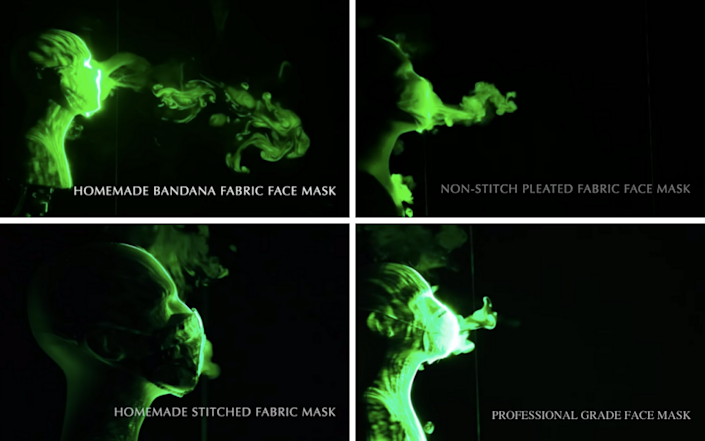 Four photos that show how far air droplets travel with different face coverings