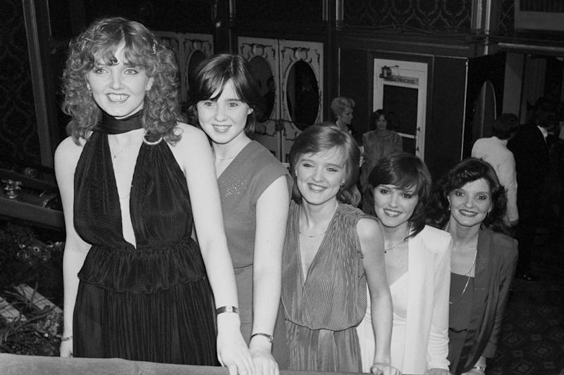 The Nolan Sisters arrive at the Lyceum Ballroom in London when they were presented with a special award by Princess Anne at the Carl-Alan Awards ceremony. Left to right; Linda Nolan, Coleen Nolan, Bernie Nolan, Maureen Nolan and Anne Nolan. (Photo by PA Images via Getty Images)