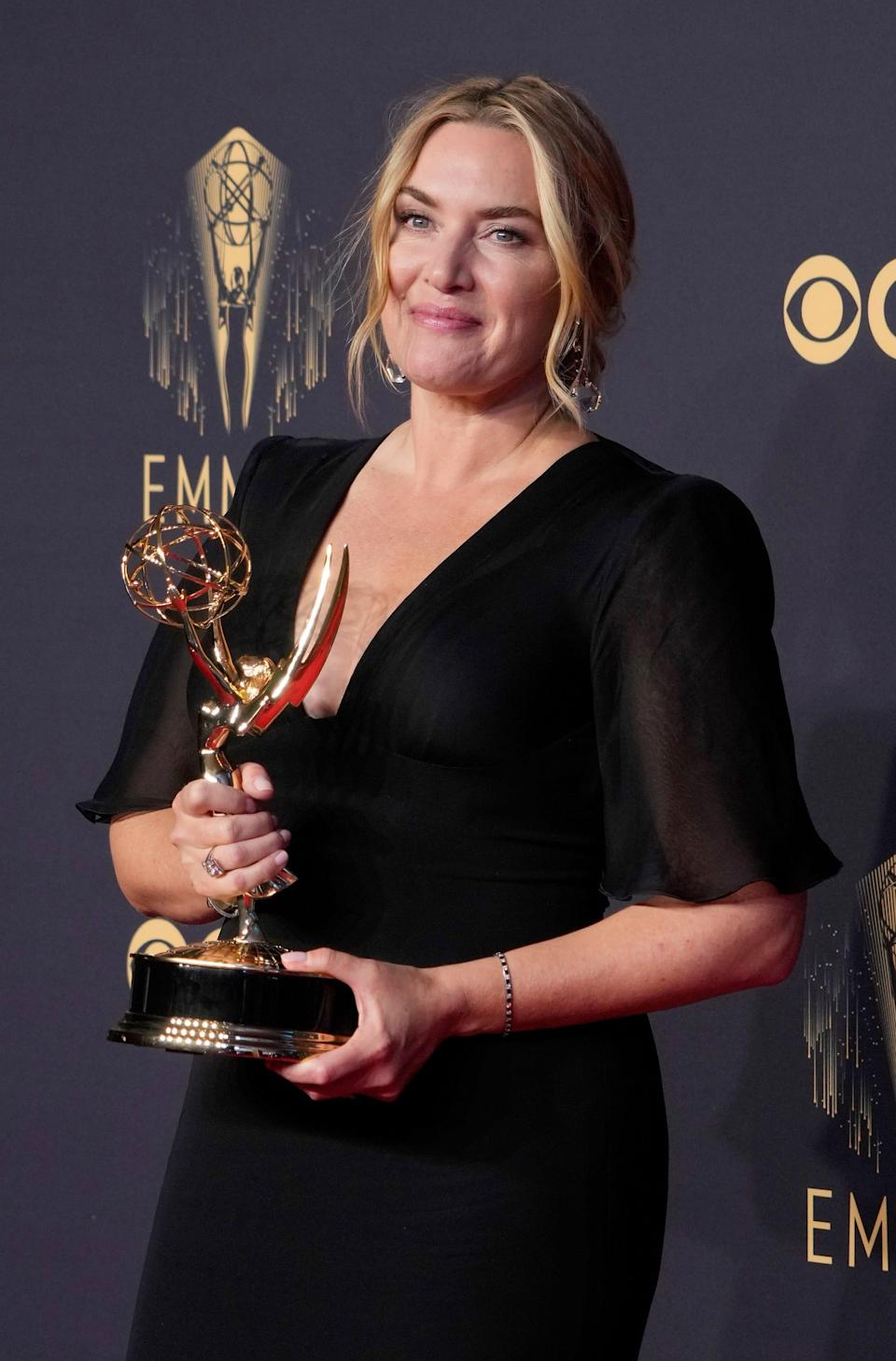 Kate Winslet, winner of Lead Actress is a Limited or Anthology Series or Movie for 'Mare of Easttown', in the press room at the 73rd Emmy Awards at L.A. Live.
