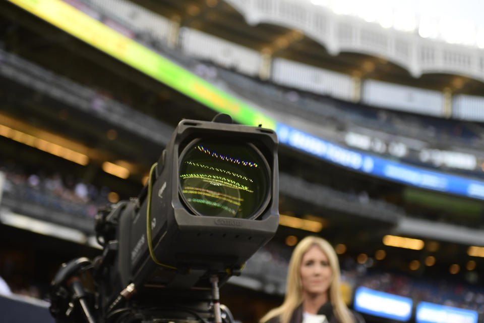 NEW YORK, NY - SEPTEMBER 01: A television camera lens is shown before the start of the game as the New York Yankees host the Boston Red Sox at Yankee Stadium on September 1, 2017 in New York City. The Red Sox won 4-1. (Photo by Corey Perrine/Getty Images)
