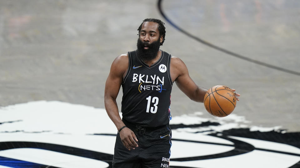 Brooklyn Nets' James Harden (13) looks to pass during the first half of an NBA basketball game against the New York Knicks Monday, April 5, 2021, in New York. (AP Photo/Frank Franklin II)