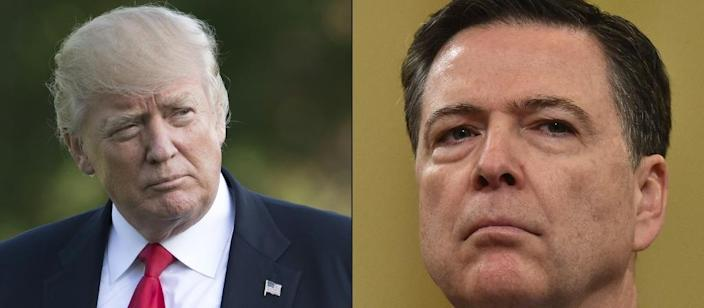 "President Donald Trump on Tuesday wished James Comey, the ex-FBI chief he fired last month, ""luck"" when he tesifies before the Senate on Thursday (AFP Photo/SAUL LOEB, Nicholas Kamm )"