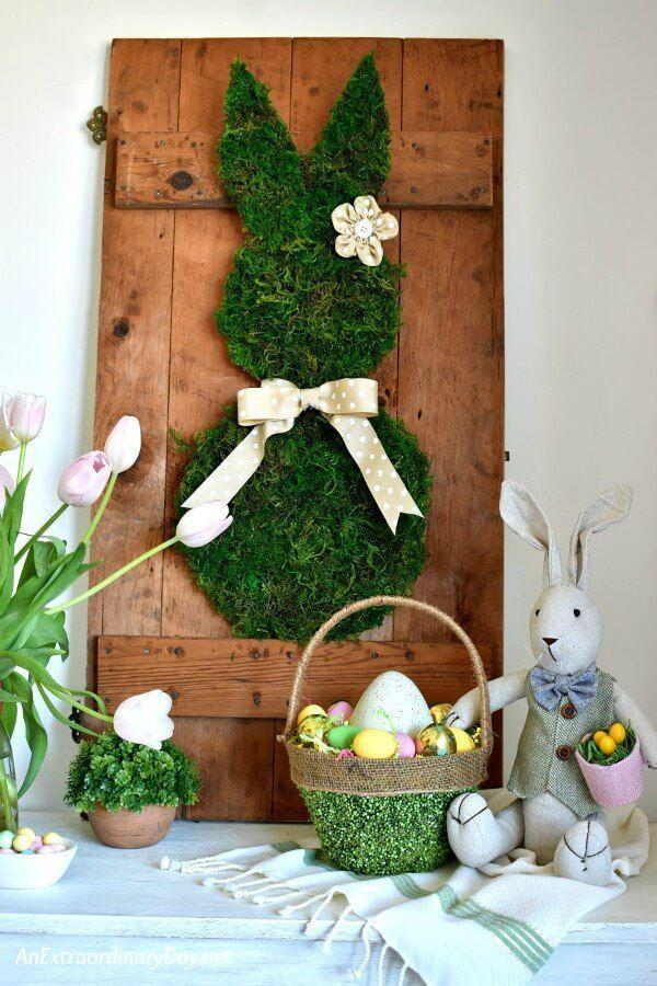 """<p>Repurpose an old door into the most adorable decorative sideboard, moss bunny and all. You can even make extra versions of this crafty critter to hang around the house solo, no leftover wood required. </p><p><strong>Get the tutorial at <a rel=""""nofollow noopener"""" href=""""https://anextraordinaryday.net/simple-farmhouse-style-spring-vignette-on-the-sideboard/"""" target=""""_blank"""" data-ylk=""""slk:An Extraordinary Day"""" class=""""link rapid-noclick-resp"""">An Extraordinary Day</a>. </strong></p><p><strong><a rel=""""nofollow noopener"""" href=""""https://www.amazon.com/SuperMoss-21743-Moss-Petite-Preserved/dp/B00I6AJ98K/"""" target=""""_blank"""" data-ylk=""""slk:SHOP MOSS"""" class=""""link rapid-noclick-resp"""">SHOP MOSS</a><br></strong></p>"""