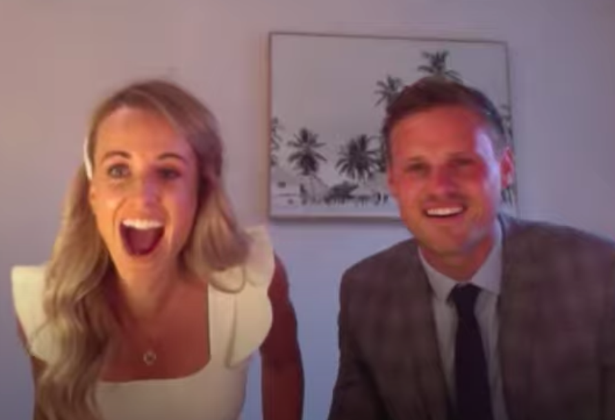 Hayley Pitman and Harvey Skelton were shocked when the singer popped up on screen just before their first dance (For Better For Worse)